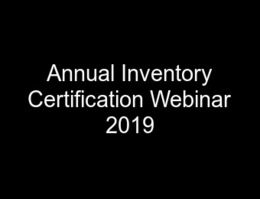 Annual Inventory Certification Webinar 2019